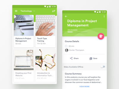 Technology Courses / Details switch ux mobile green cards material design android