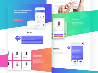 Obvy - Personalized Tech Support Assistant app mobile android ios gradient message chat bot tech wifi obvy