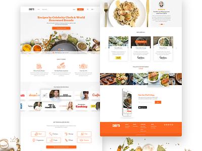 Chef'd Website cuisine photography cards website marketing meals orange food desktop recipes cooking chefd
