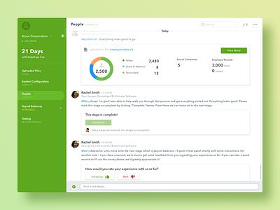 "UltiPro Launch - ""Capsule"" Concept data feedback sketch gradient green web desktop ui slack chat launch ultipro"