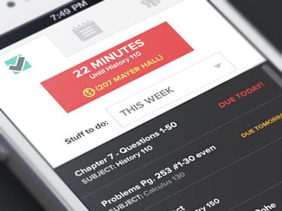 College student task iphone app tasks iphone ios slide tab alerts college student interface design ui design minimal clean
