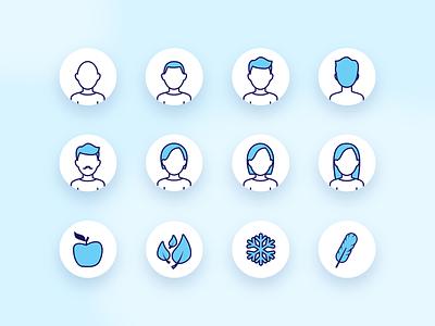 Hairs and fragrances icon set design vector illustration app ui icon design iconography icon set icon