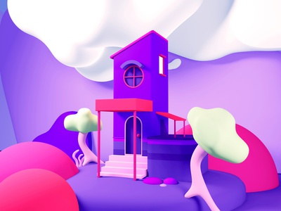 House composition 02 eevee 3d illustration