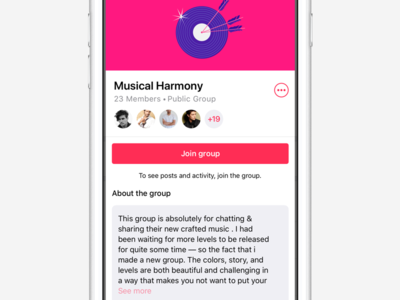 Public Group Page app design user experience user interface join group ux ui android ios groups