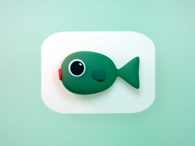 Fish fish icon logo illustraion 3d blender