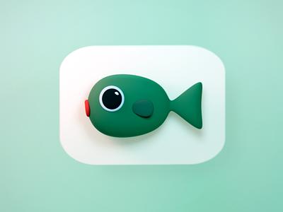 Fish fish icon logo illustraion 3d blender