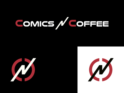 Comics 'N' Coffee Logo geeks superheroes community coffee comic books comics