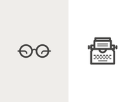 Glasses & Typewriter