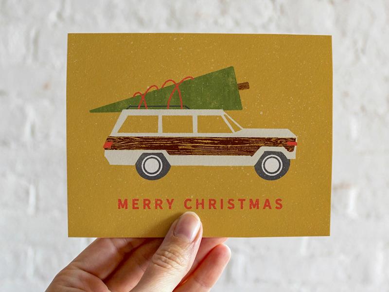 Woody Wagoneer Christmas Card retrosupplyco texture procreate jeep woody greeting card holiday card christmas card
