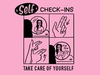Self Check-Ins fingerguns humor comedy type black pink illustration comic procreate