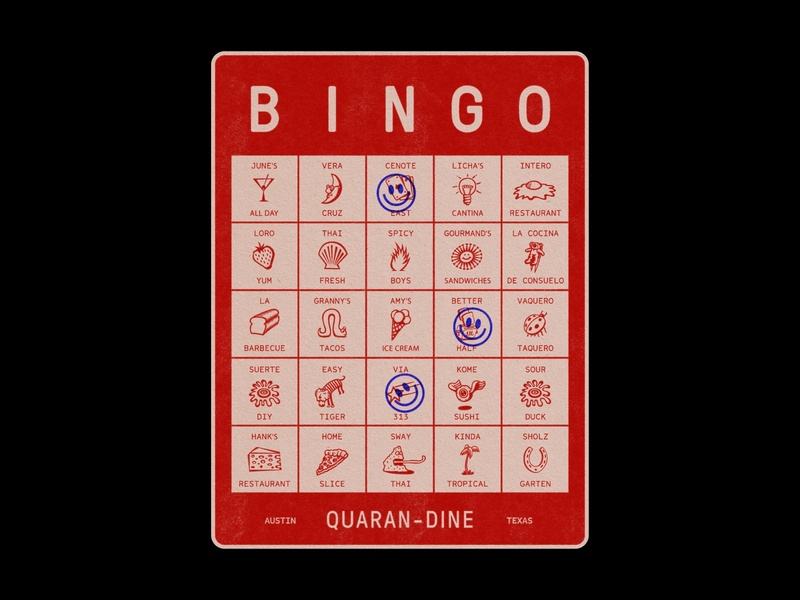 Quarandine Bingo - Austin, Texas typography card texture paper red brewery bar food restaraunt texas austin quarantine bingo