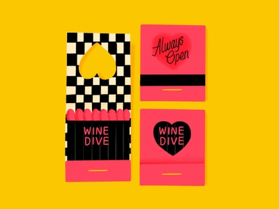 Wine Dive Matchbook procreate illustration wine dive checkered pink matchbook matches
