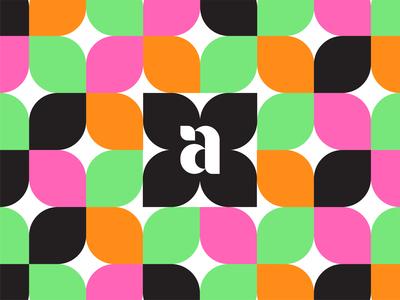 anna – a cannabis brand modern retro flower icon logo pattern