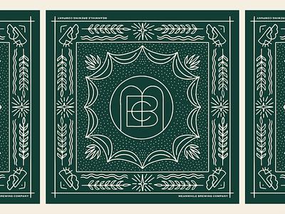 Meanwhile Brewing Co. Bandana procreate graphic design branding badge beer brewery linework monoline austin texas illustration bandana