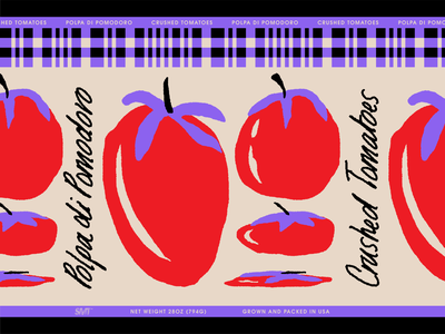 Crushed Tomatoes Label label packaging lettering packaging design illustration tomato food label