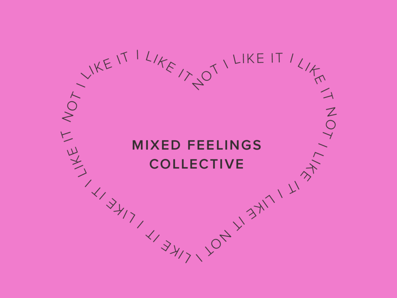 Mixed Feelings Co. patch branding pink heart typography graphic  design mixed feelings