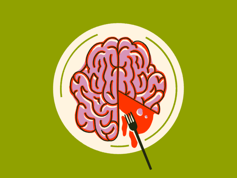 Inktober Day 2 – Mindless procreate illustration food brain inktober