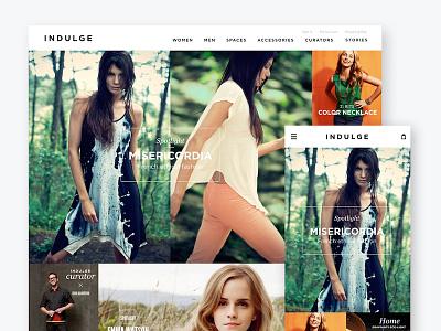 Indulge Shop website mobile catalog interface web design ux shop e-commerce product