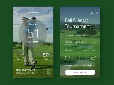Golf Tournament App ux design mobile ios app golf