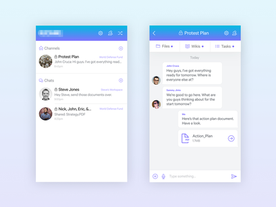 Mobile Chat & Collaboration App Concept mobile iphone collaboration chat interface ux ui