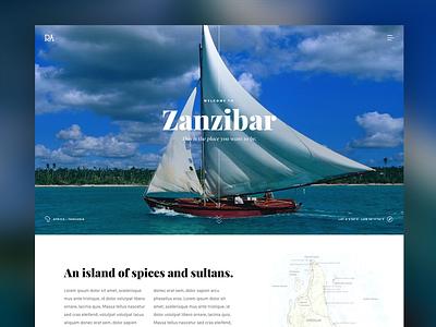 Travel Website Concept island sailing travel graphics landing page design website