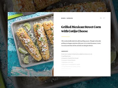 Recipe Detail web design ux recipe food cooking