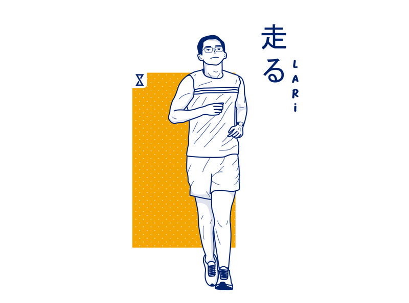 Running Man Line Art Style lifestyle healthy health running run flat pose yellow lineart japanese character vector illustration design