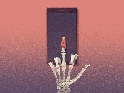 addiction addiction death skeleton cell phone illustration