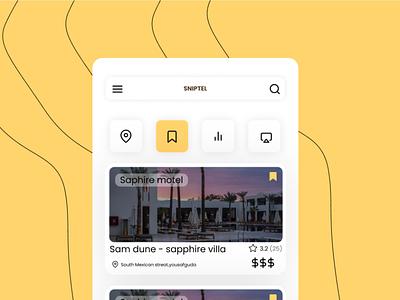sniptel - Travel resort booking branding yellow app ui travel