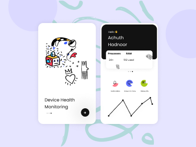 Device health app UI concept app website ui  ux typography web ux vector illustration branding design