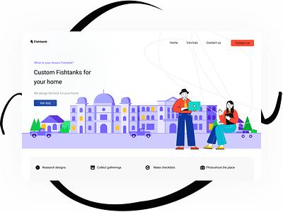 Landing page app art website typography web ux vector illustration branding design