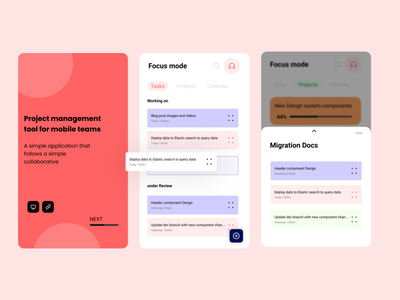 Mobile project management App app website ui  ux ux typography web vector illustration branding design
