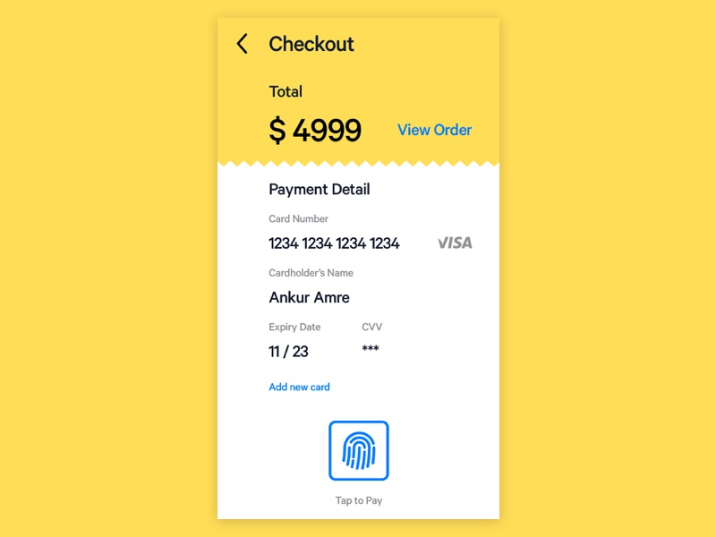 DailyUI 002 minimal app design dailyui 002 tap to pay credit card checkout credit card payment design ui