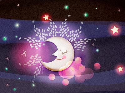 Moon & Stars illustration illustration vector illustration psd illustration for animation illustration stars illustration moon illustration