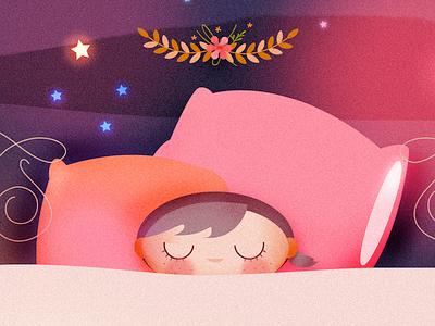 Sleeping Girl illustration vector illustration stars illustration psd illustration moon illustration for animation illustration