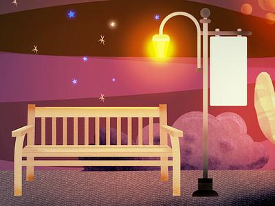 Square at Night illustration vector illustration stars illustration psd illustration moon illustration for animation illustration