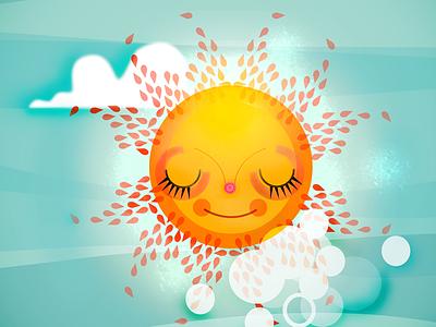 The Sun bright yellow summertime sunny shiny sky illustration sunny illustration digital illustration vector illustration sun illustration