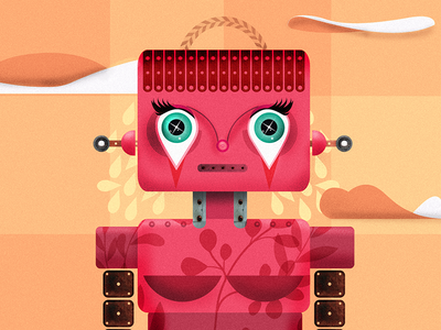 Sad Robot colorful sad illustrator illustrations robot illustration