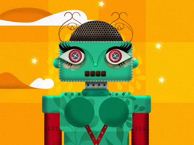 Sad Robot 2 green yellow robot illustration colorful sad illustrator illustration robot