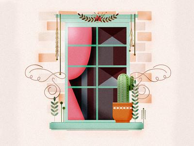 Window Illustration balcony plants illustration window