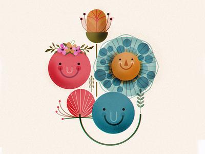 Happy Flower Bouquet flat simple digital illustration illustrations illustration flowers