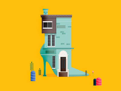 Shoe House yellow colorful house illustrator illustrations shoe illustration