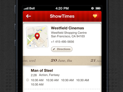 Showtimes Movie - iOS/Android android app shows cinemas movie application iphone ios bangalore india i2fly ui