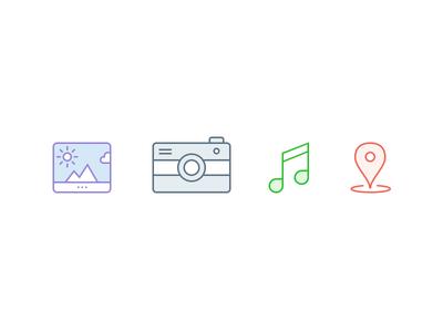 iOS app icon icon app photo gallery ios android ui glyph music location camera image