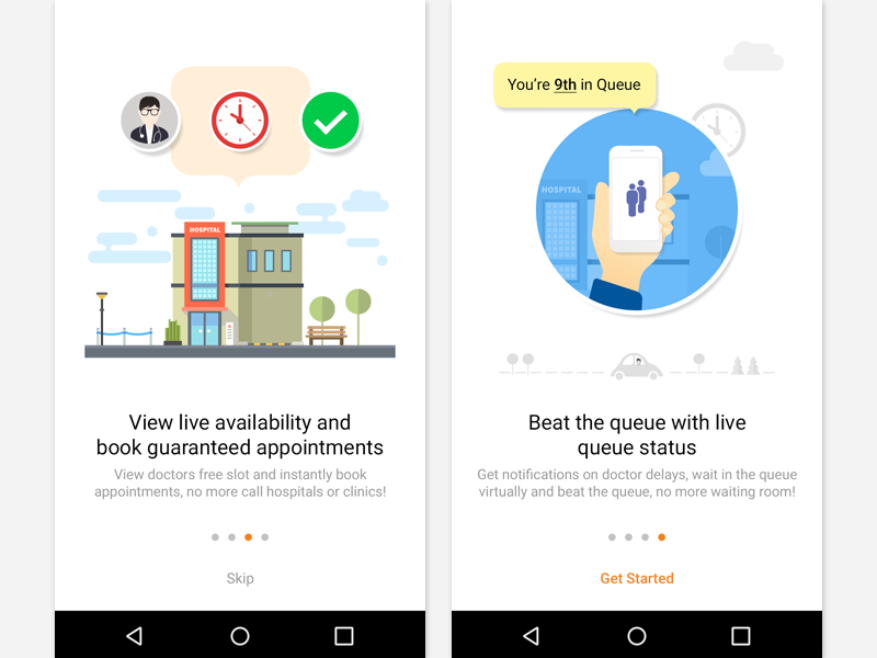 Onboarding walkthrough illustration ios android app mobile doctor appointment que ui help signup