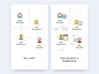 Onboarding walkthrough intro skills storefront neighbourhood ui signup mobile illustration android app ios