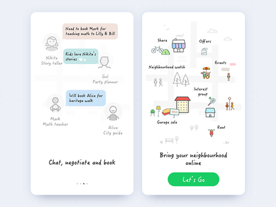 Onboarding walkthrough ui storefront skills signup neighbourhood mobile ios intro illustration app android