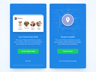 App Permissions Screen  access ux people user interface ui mobile notification android ios illustration contacts location