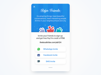 Refer Friends ios invite free illustration android credit thelocaltribe ui ux mobile share rewards