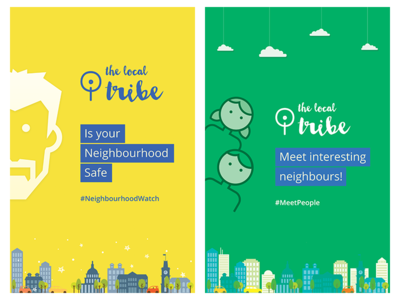 The Local Tribe Poster app print people safety neighbourhood thelocaltribe poster city illustration cityscape